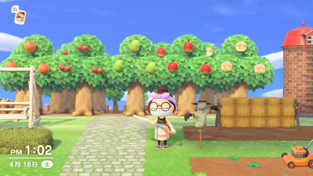 あつまれどうぶつの森果樹園畑